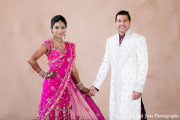 Indian wedding bride groom portraits pink sari in Huntington Beach, CA Indian Wedding by Lin and Jirsa Photography