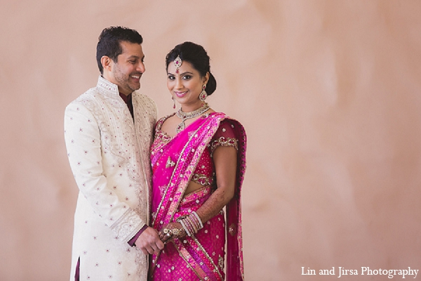 Indian wedding bride groom portraits in Huntington Beach, CA Indian Wedding by Lin and Jirsa Photography