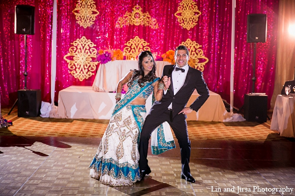 Indian wedding bride groom reception dance in Huntington Beach, CA Indian Wedding by Lin and Jirsa Photography