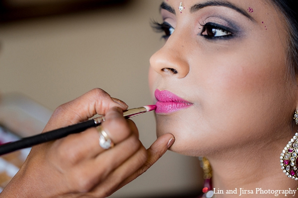 Indian wedding bride makeup pink lip in Huntington Beach, CA Indian Wedding by Lin and Jirsa Photography