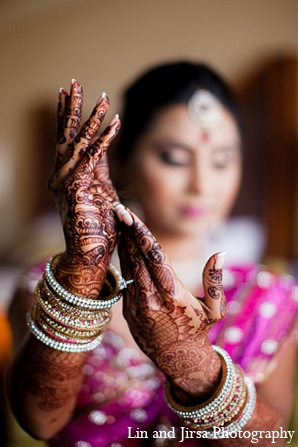 Indian wedding bride mehndi pink in Huntington Beach, CA Indian Wedding by Lin and Jirsa Photography