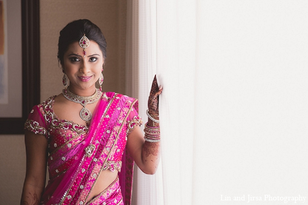 Indian wedding bride pink sari in Huntington Beach, CA Indian Wedding by Lin and Jirsa Photography