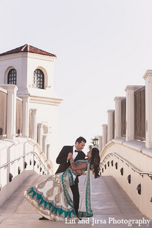 Indian wedding bride reception groom portraits in Huntington Beach, CA Indian Wedding by Lin and Jirsa Photography