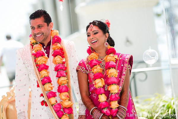 Indian wedding ceremony bride groom in Huntington Beach, CA Indian Wedding by Lin and Jirsa Photography
