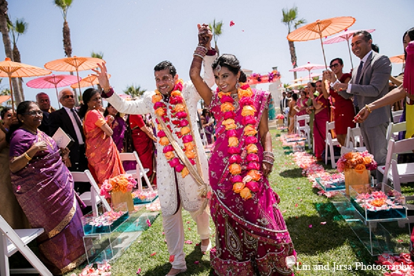 Indian wedding ceremony groom bride in Huntington Beach, CA Indian Wedding by Lin and Jirsa Photography