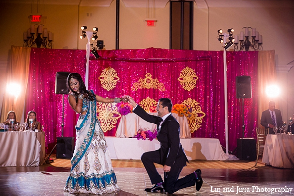 Indian wedding groom bride dance reception in Huntington Beach, CA Indian Wedding by Lin and Jirsa Photography
