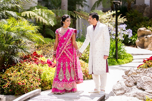 Indian wedding groom bride pink sari portraits in Huntington Beach, CA Indian Wedding by Lin and Jirsa Photography
