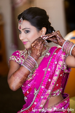 hot pink,bridal fashions,bridal jewelry,Hair & Makeup,Mehndi Artists,bridal sari,indian sari,wedding sari,Lin and Jirsa Photography,indian saree,bridal saree,wedding saree,Indian bridal sari,Indian bridal saree