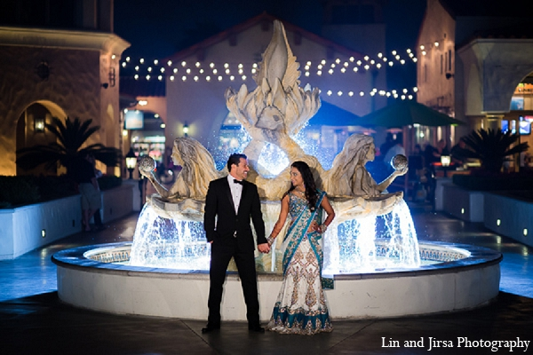 Indian wedding reception bride groom portraits in Huntington Beach, CA Indian Wedding by Lin and Jirsa Photography