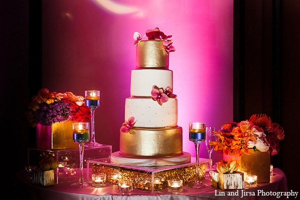 Indian wedding reception cake gold pink in Huntington Beach, CA Indian Wedding by Lin and Jirsa Photography