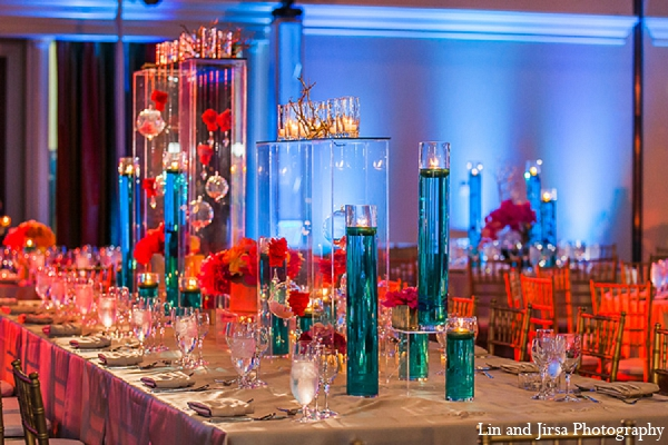 Indian wedding reception decor blue orange in Huntington Beach, CA Indian Wedding by Lin and Jirsa Photography