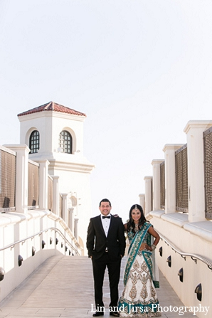 Indian wedding reception portraits bride groom in Huntington Beach, CA Indian Wedding by Lin and Jirsa Photography