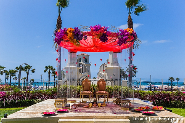 Indian wedding venue mandap outdoor in Huntington Beach, CA Indian Wedding by Lin and Jirsa Photography
