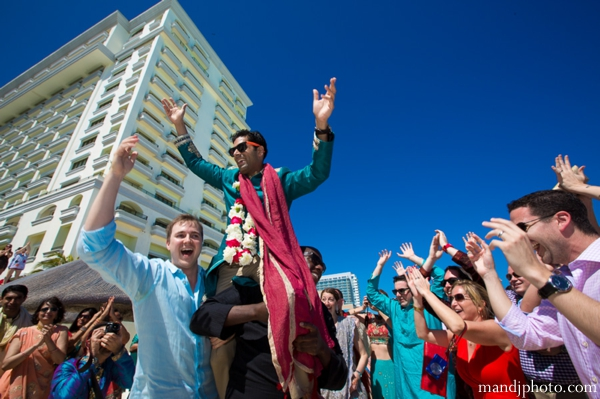 Indian wedding beach celebration grooms baraat