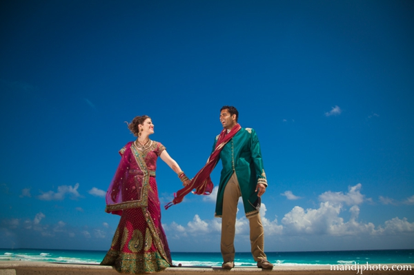 indian wedding beach portrait couple