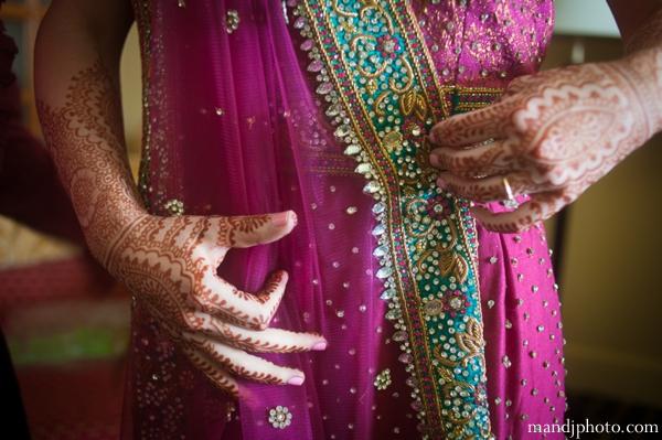 Indian wedding bridal ceremony lengha henna