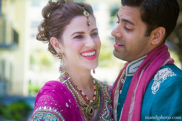 Indian wedding bride groom portrait jewelry