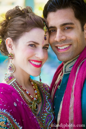 Indian wedding bride groom portrait traditional dress