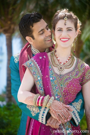 Indian wedding couples portrait  traditional dress