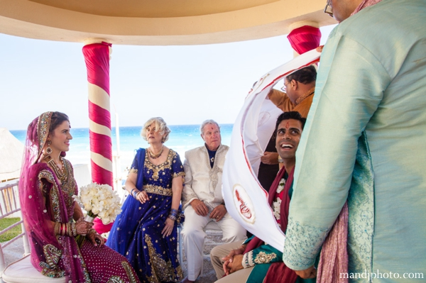 Indian wedding first look at mandap