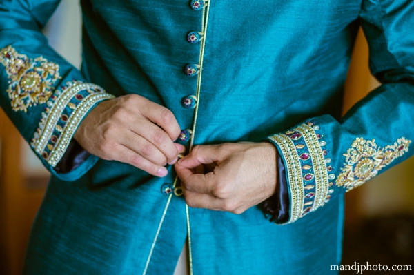 Indian wedding groom getting dressed traditional sherwani