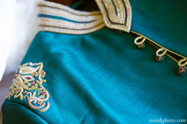 Indian wedding groom sherwani teal embroidery
