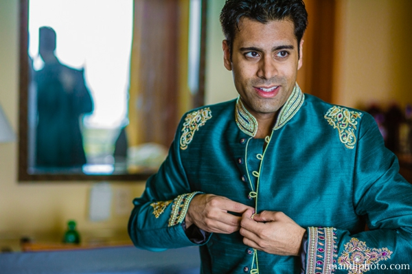Indian wedding groom teal sherwani