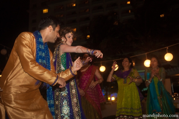 Indian wedding mehndi party dancing
