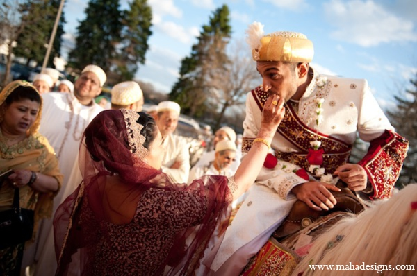 Pakistani baraat groom in Chicago, Illinois Pakistani Wedding by Maha Designs
