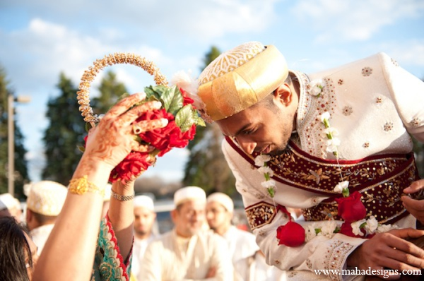 Pakistani baraat horse in Chicago, Illinois Pakistani Wedding by Maha Designs