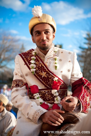 Pakistani baraat in Chicago, Illinois Pakistani Wedding by Maha Designs