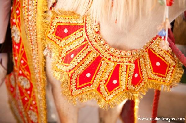 Pakistani groom baraat horse in Chicago, Illinois Pakistani Wedding by Maha Designs