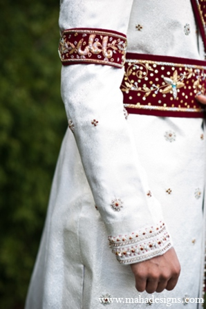 Pakistani groom sherwani in Chicago, Illinois Pakistani Wedding by Maha Designs