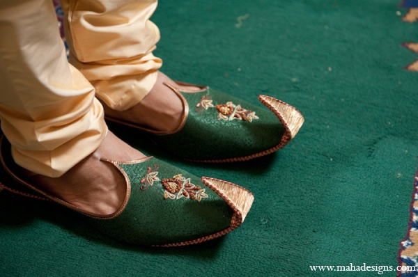 Pakistani grooms shoes in Chicago, Illinois Pakistani Wedding by Maha Designs