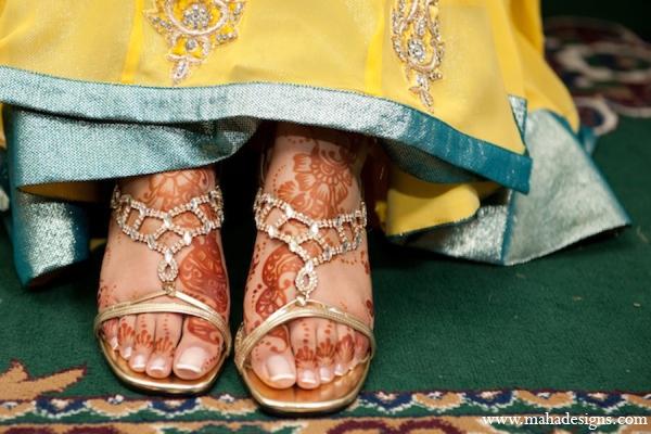 Pakistani wedding bride shoes in Chicago, Illinois Pakistani Wedding by Maha Designs