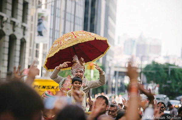 Indian wedding baraat groom photography in New York, New York Indian Wedding by Maloman Studios