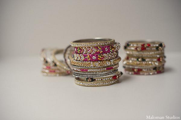 Indian wedding bridal jewelry bracelets in New York, New York Indian Wedding by Maloman Studios