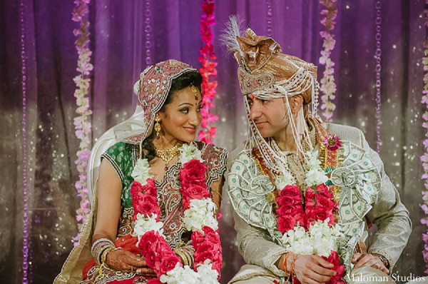 Indian wedding bride groom ceremony in New York, New York Indian Wedding by Maloman Studios