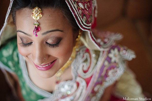 Indian wedding bride makeup fashion in New York, New York Indian Wedding by Maloman Studios