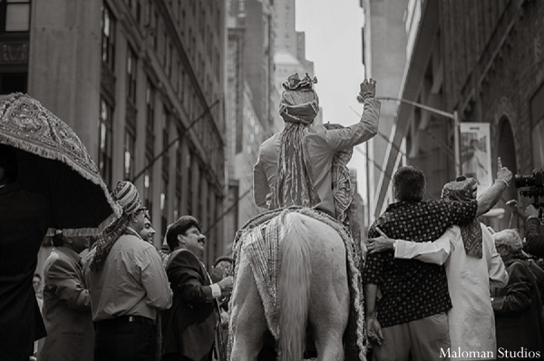 Indian wedding groom photography baraat in New York, New York Indian Wedding by Maloman Studios