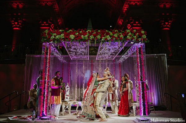 Indian wedding mandap bride groom in New York, New York Indian Wedding by Maloman Studios
