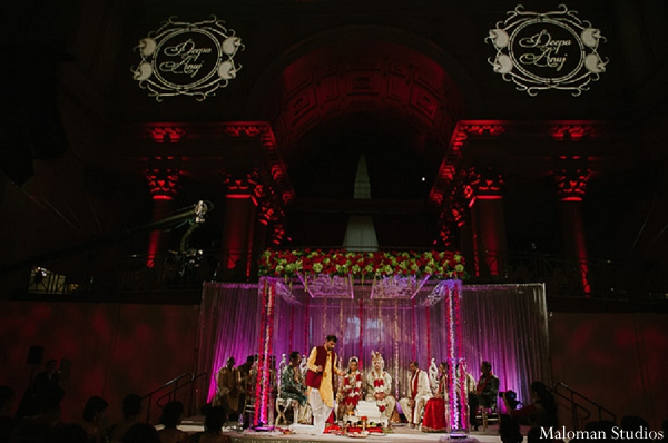 Indian wedding mandap venue photography in New York, New York Indian Wedding by Maloman Studios