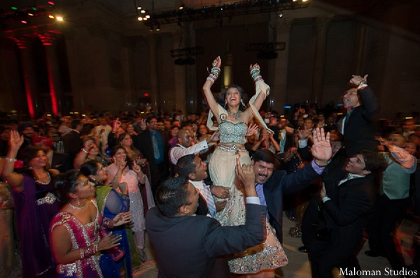 Indian wedding reception bride venue in New York, New York Indian Wedding by Maloman Studios