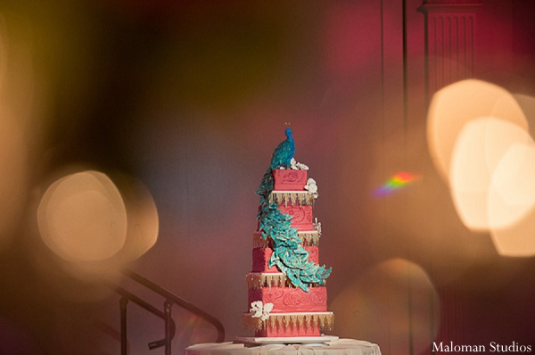 Indian wedding reception cake photography in New York, New York Indian Wedding by Maloman Studios