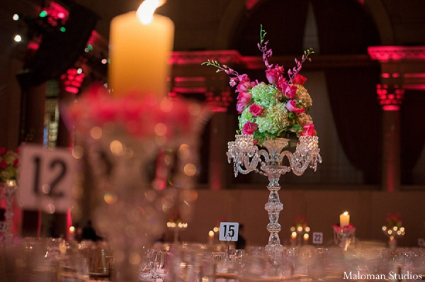 Indian wedding reception decor floral in New York, New York Indian Wedding by Maloman Studios