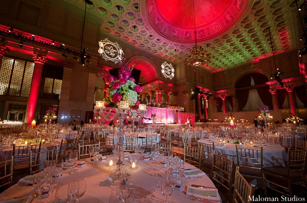 Indian wedding reception lighting venue decor in New York, New York Indian Wedding by Maloman Studios