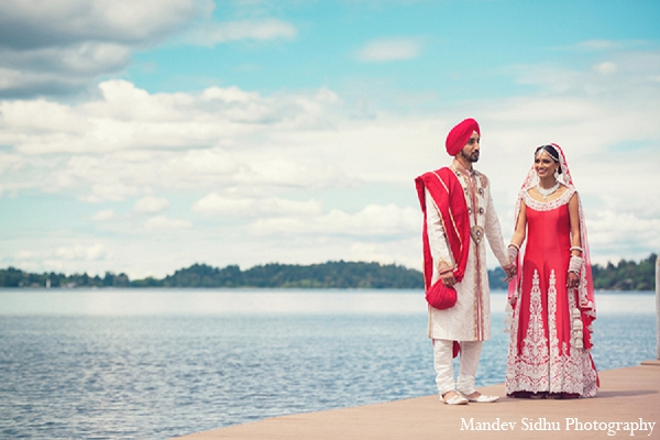 Indian wedding portraits bride groom outdoor pier pink lengha in Seattle, Washington Indian Wedding by Mandev Sidhu Photography