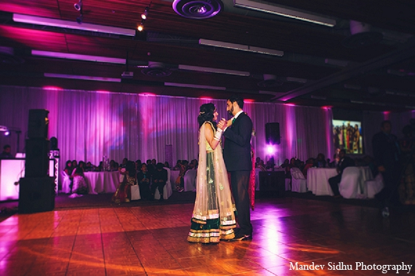 Indian wedding reception bride groom first dance lengha in Seattle, Washington Indian Wedding by Mandev Sidhu Photography