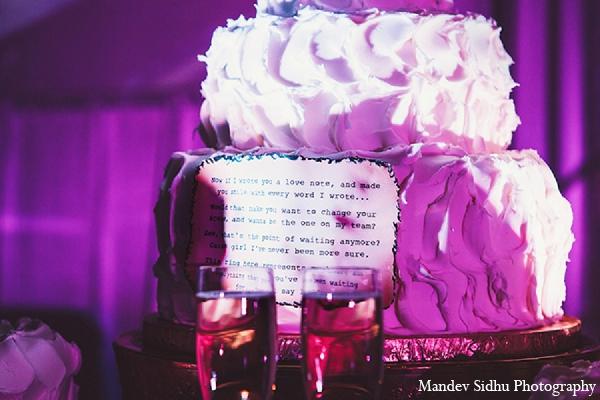 Indian wedding reception cake lighting purple in Seattle, Washington Indian Wedding by Mandev Sidhu Photography