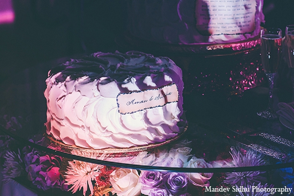 Indian wedding reception cake lighting in Seattle, Washington Indian Wedding by Mandev Sidhu Photography